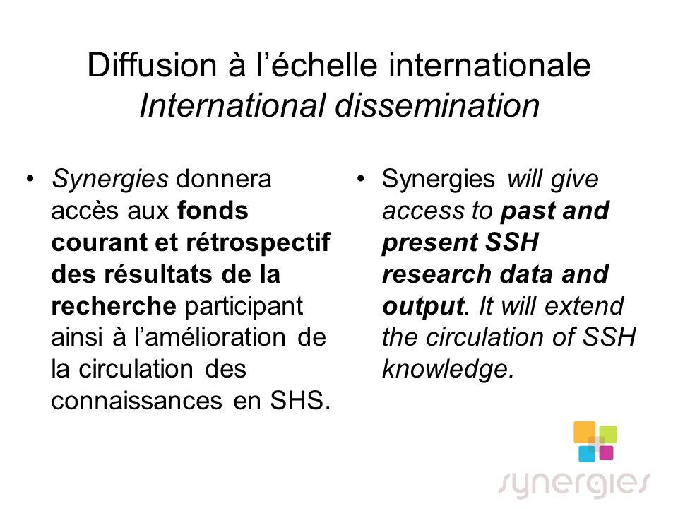 Diffusion à léchelle internationale International dissemination Synergies donnera accès aux fonds courant et rétrospectif des résultats de la recherche participant ainsi à lamélioration de la circulation des connaissances en SHS.
