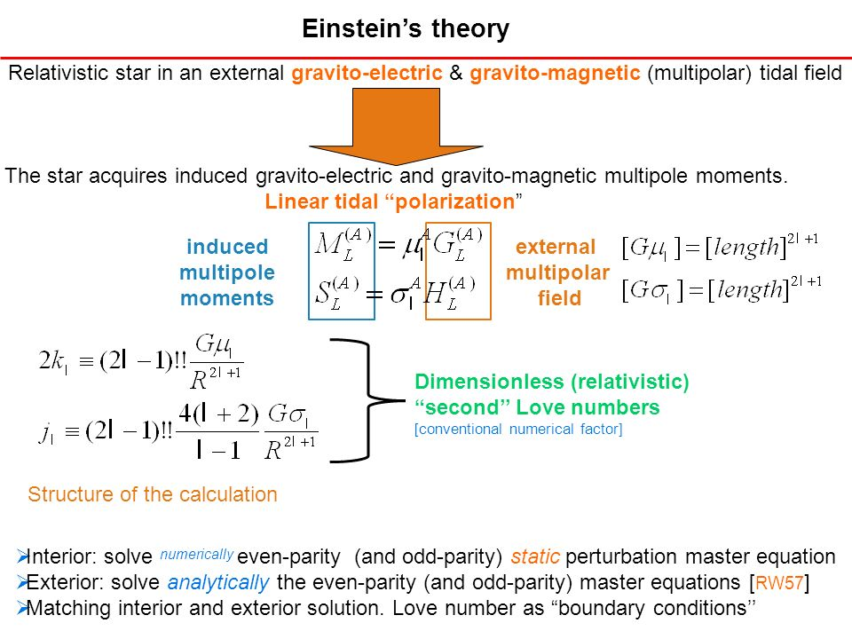 Einsteins theory Relativistic star in an external gravito-electric & gravito-magnetic (multipolar) tidal field The star acquires induced gravito-elect