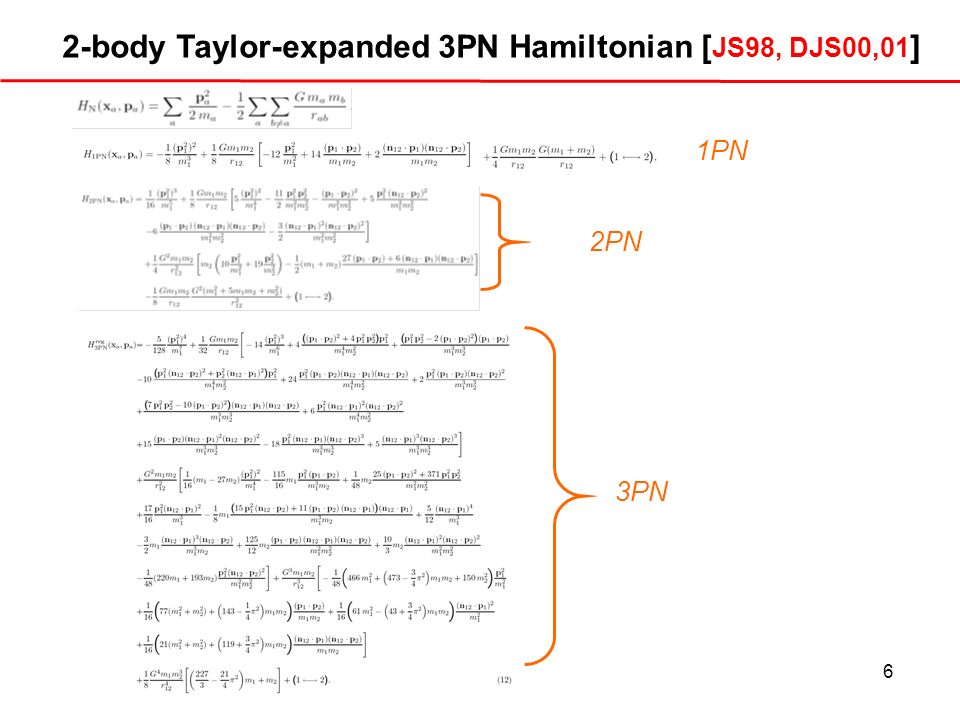 6 2-body Taylor-expanded 3PN Hamiltonian [ JS98, DJS00,01 ] 3PN 2PN 1PN