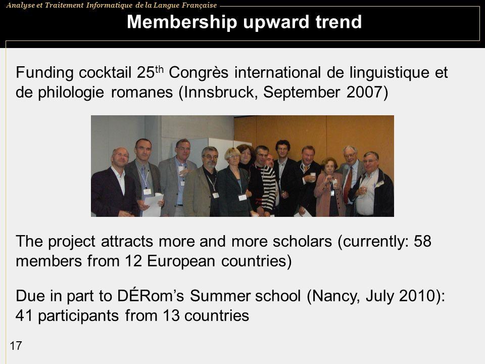 Analyse et Traitement Informatique de la Langue Française 17 Membership upward trend Funding cocktail 25 th Congrès international de linguistique et d