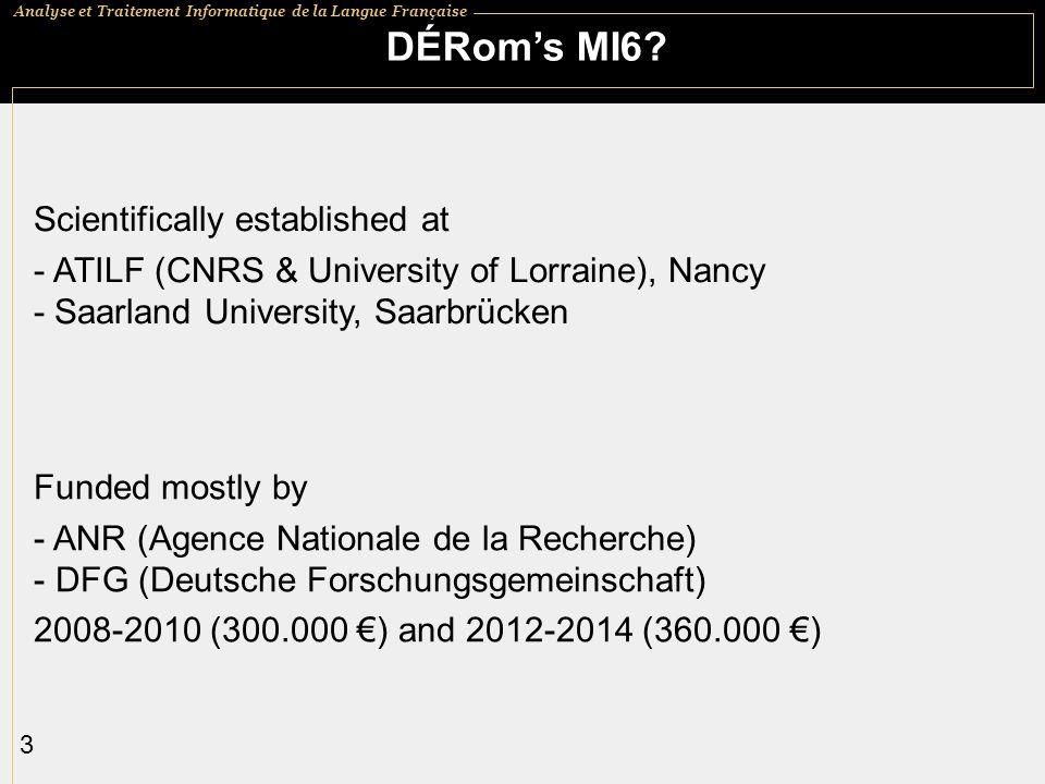 Analyse et Traitement Informatique de la Langue Française 4 Moneypenny.