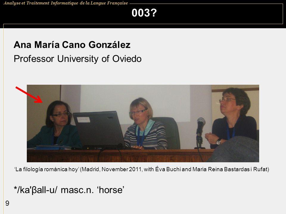 Analyse et Traitement Informatique de la Langue Française 9 003? Ana María Cano González Professor University of Oviedo */ka'βall-u/ masc.n. horse La