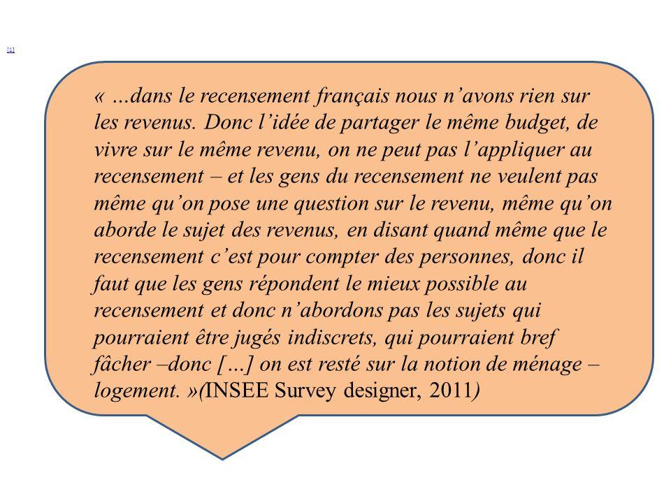 [1] « …dans le recensement français nous navons rien sur les revenus. Donc lidée de partager le même budget, de vivre sur le même revenu, on ne peut p