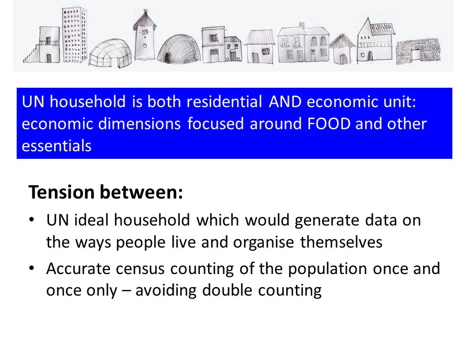 Tension between: UN ideal household which would generate data on the ways people live and organise themselves Accurate census counting of the population once and once only – avoiding double counting UN household is both residential AND economic unit: economic dimensions focused around FOOD and other essentials