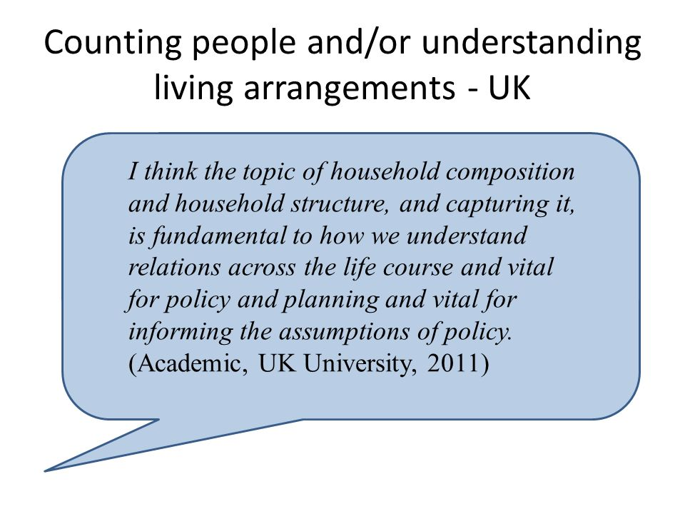 Counting people and/or understanding living arrangements - UK I think the topic of household composition and household structure, and capturing it, is fundamental to how we understand relations across the life course and vital for policy and planning and vital for informing the assumptions of policy.