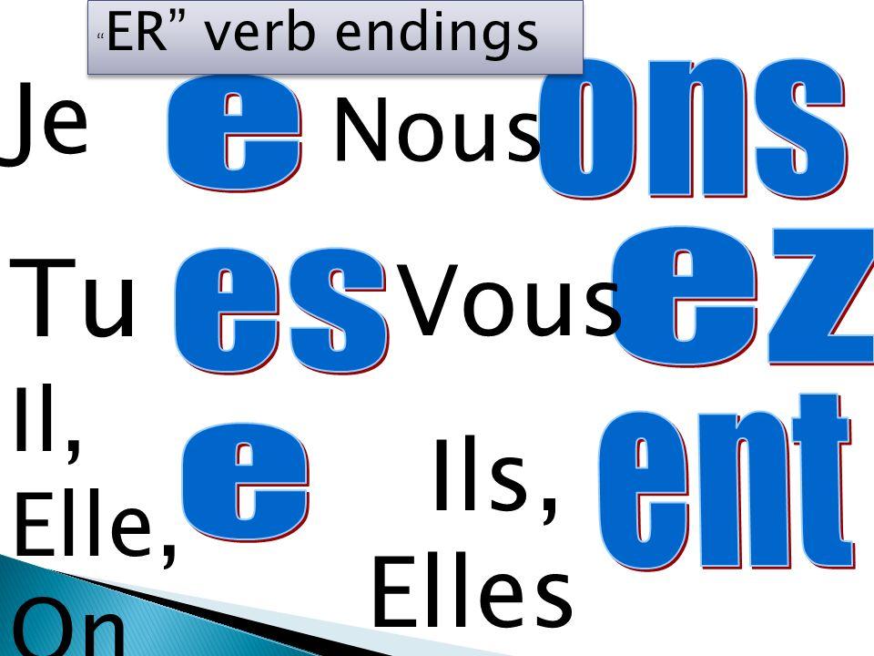 Je Tu Il, Elle, On Nous Vous Ils, Elles ER verb endings