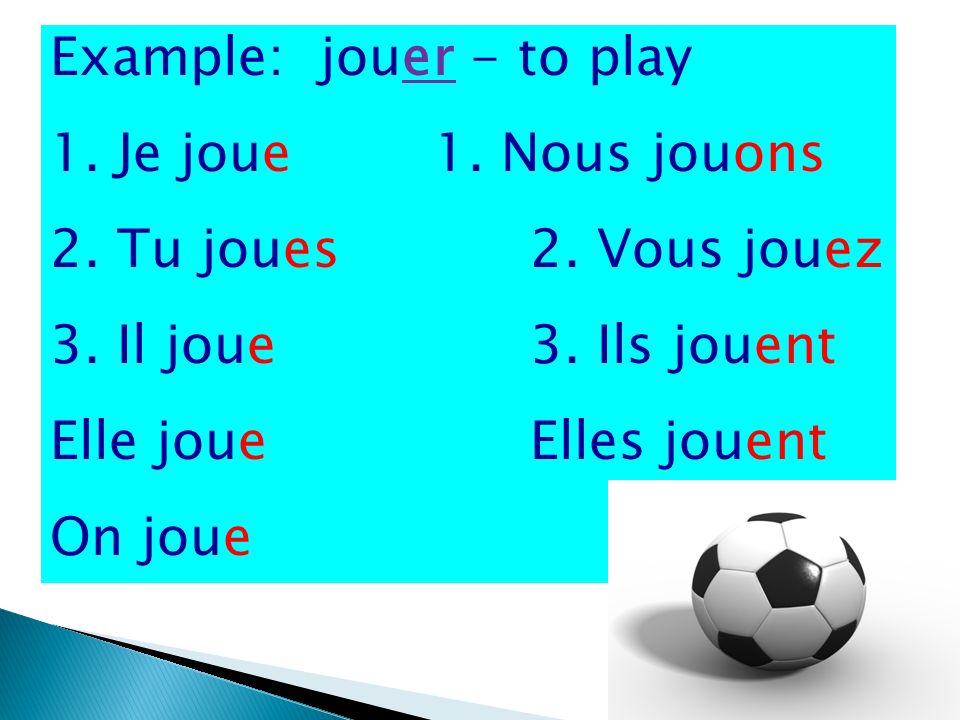 Example: jouer - to play 1. Je joue1. Nous jouons 2.