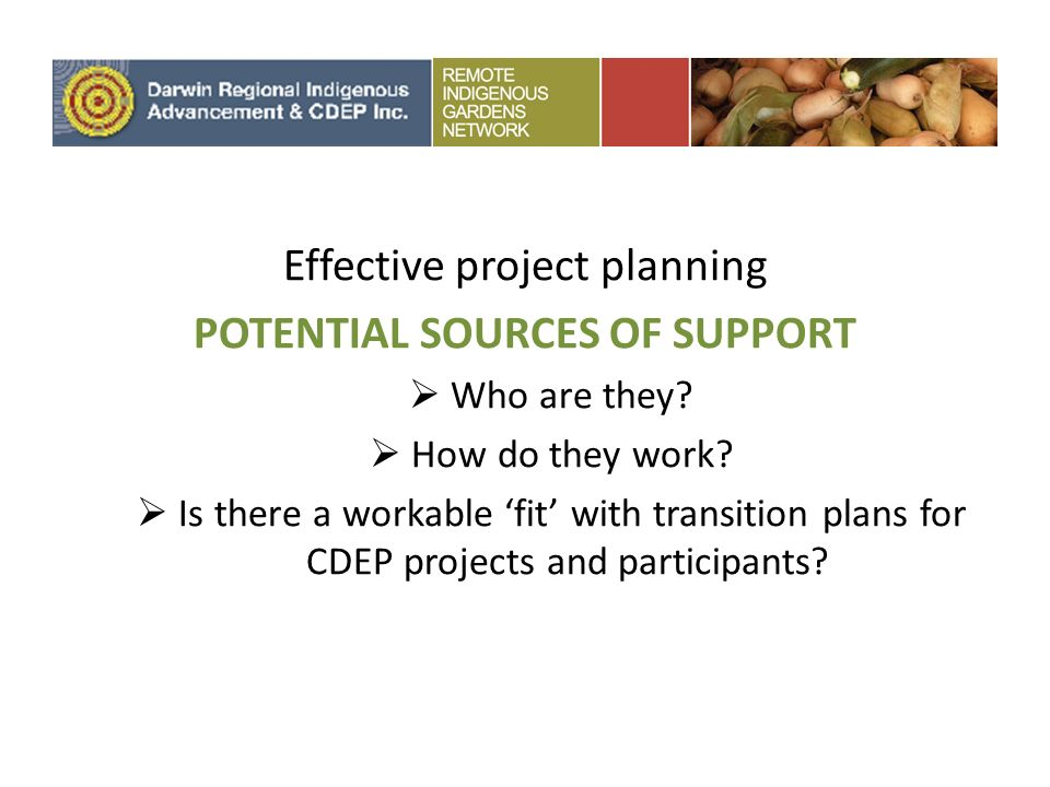 Effective project planning POTENTIAL SOURCES OF SUPPORT Who are they.
