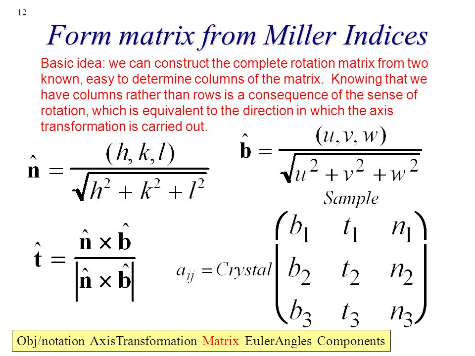 12 Form matrix from Miller Indices Obj/notation AxisTransformation Matrix EulerAngles Components Basic idea: we can construct the complete rotation ma