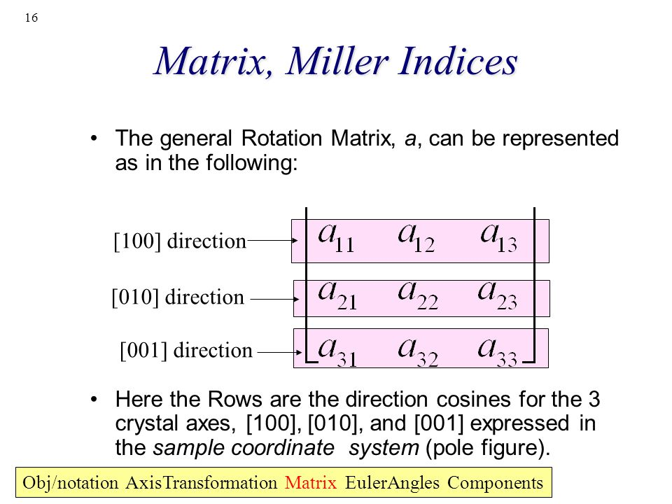16 Matrix, Miller Indices The general Rotation Matrix, a, can be represented as in the following: Here the Rows are the direction cosines for the 3 cr
