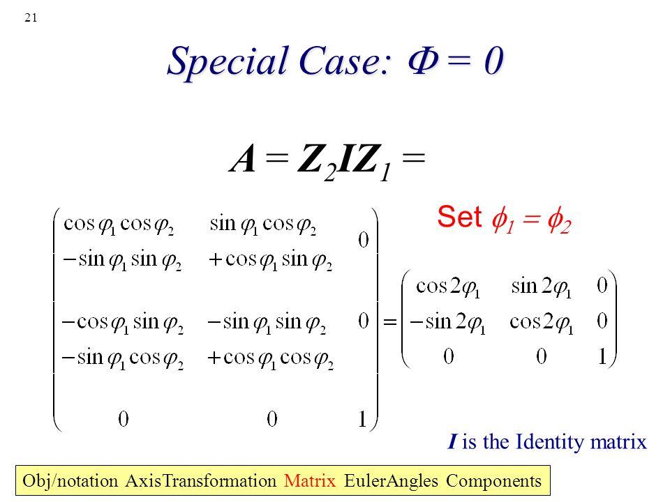 21 Special Case: = 0 A = Z 2 IZ 1 = Obj/notation AxisTransformation Matrix EulerAngles Components Set I is the Identity matrix