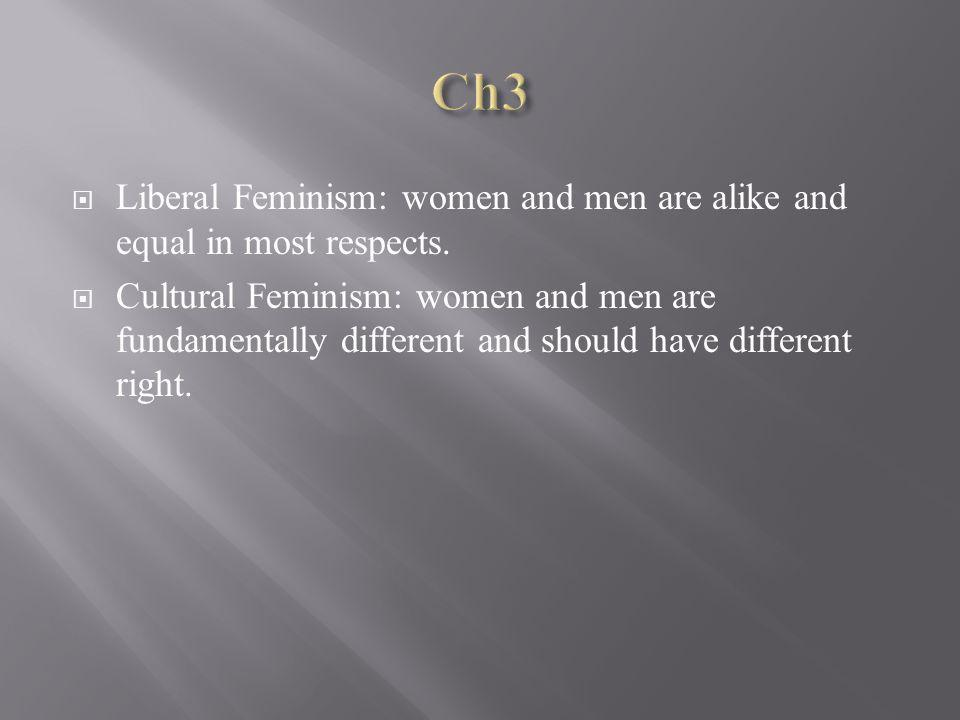 Liberal Feminism: women and men are alike and equal in most respects.