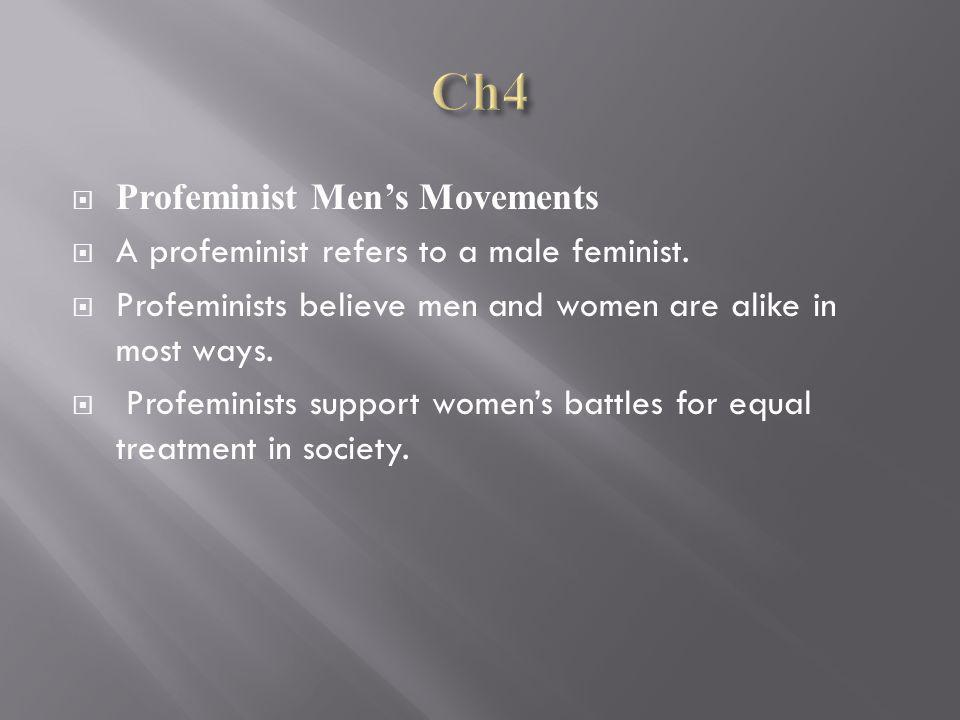 Profeminist Mens Movements A profeminist refers to a male feminist.