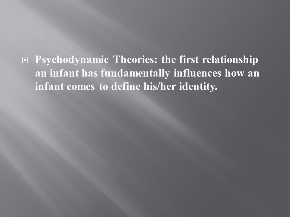 Psychodynamic Theories: the first relationship an infant has fundamentally influences how an infant comes to define his/her identity.