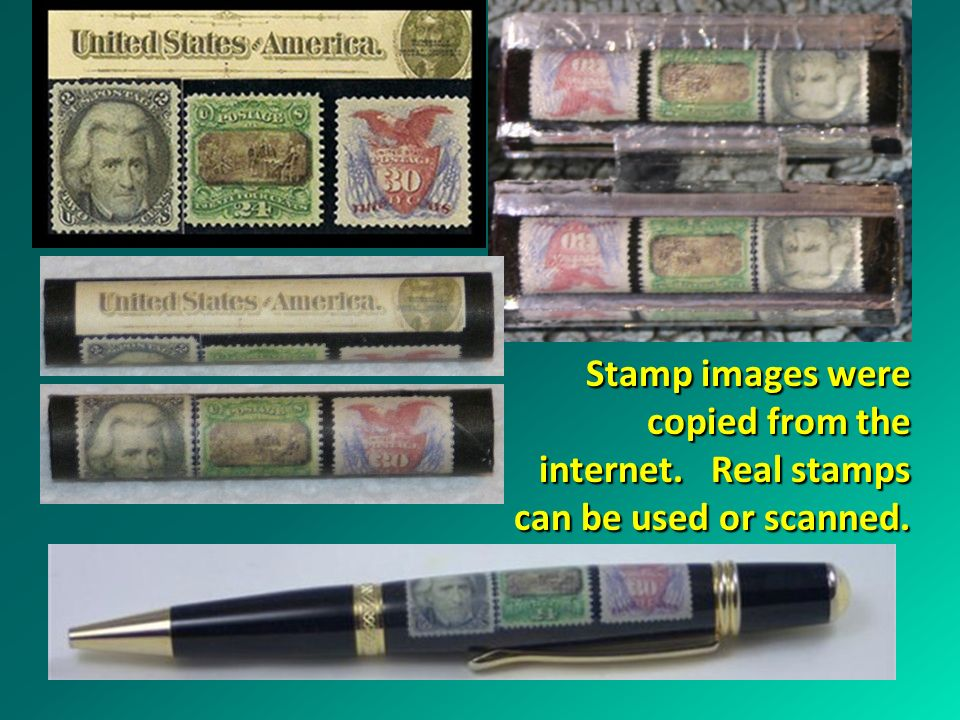 Stamp images were copied from the internet. Real stamps can be used or scanned.