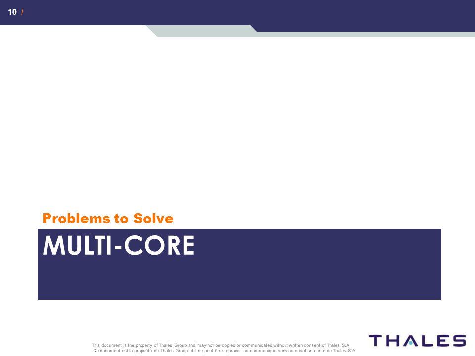 10 / Ce document est la propriété de Thales Group et il ne peut être reproduit ou communiqué sans autorisation écrite de Thales S.A. This document is