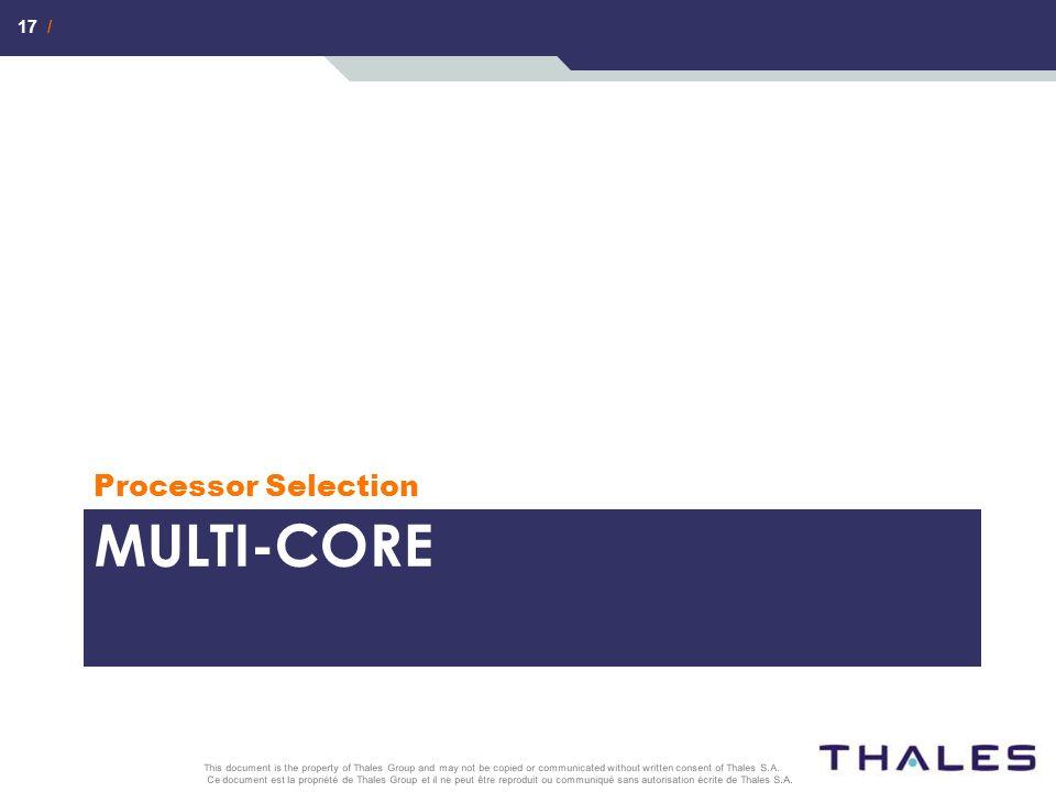 17 / Ce document est la propriété de Thales Group et il ne peut être reproduit ou communiqué sans autorisation écrite de Thales S.A. This document is