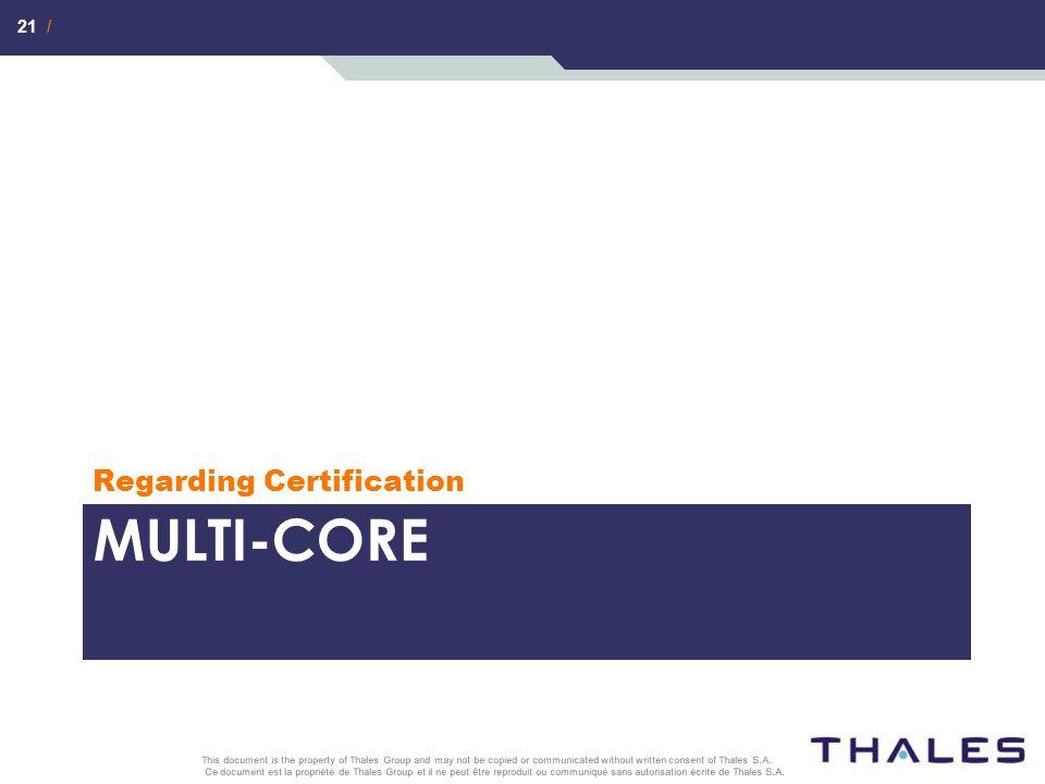 21 / Ce document est la propriété de Thales Group et il ne peut être reproduit ou communiqué sans autorisation écrite de Thales S.A. This document is