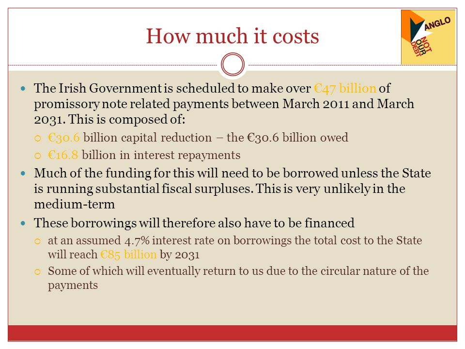 How much it costs The Irish Government is scheduled to make over 47 billion of promissory note related payments between March 2011 and March 2031. Thi