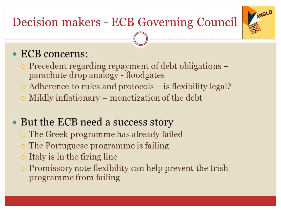 Decision makers - ECB Governing Council ECB concerns: Precedent regarding repayment of debt obligations – parachute drop analogy - floodgates Adherenc