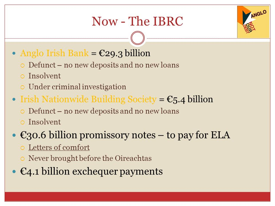 Now - The IBRC Anglo Irish Bank = 29.3 billion Defunct – no new deposits and no new loans Insolvent Under criminal investigation Irish Nationwide Building Society = 5.4 billion Defunct – no new deposits and no new loans Insolvent 30.6 billion promissory notes – to pay for ELA Letters of comfort Never brought before the Oireachtas 4.1 billion exchequer payments