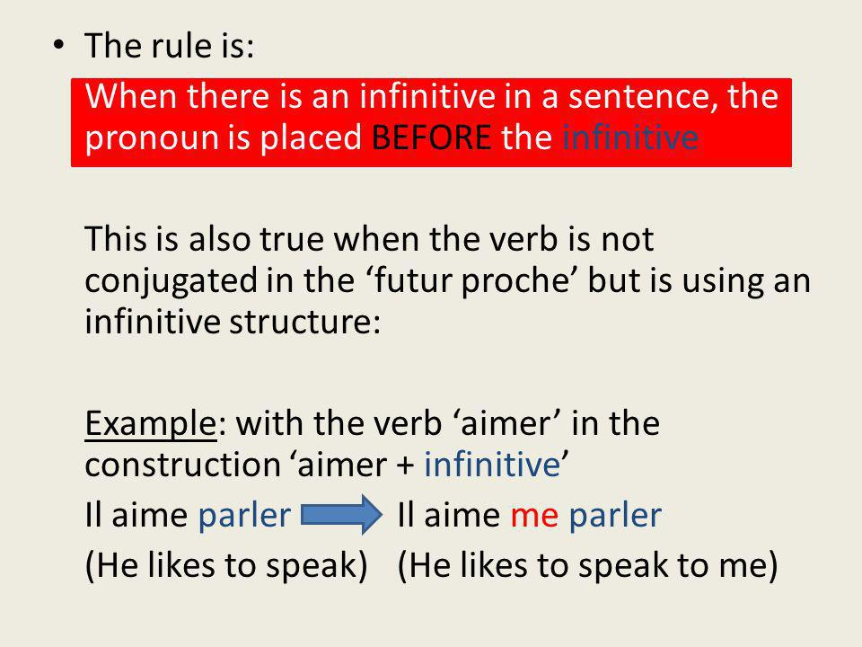 The rule is: When there is an infinitive in a sentence, the pronoun is placed BEFORE the infinitive This is also true when the verb is not conjugated