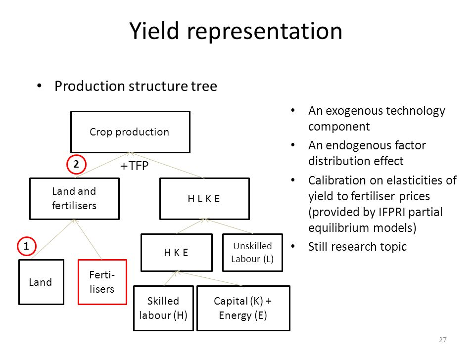 Yield representation Production structure tree An exogenous technology component An endogenous factor distribution effect Calibration on elasticities
