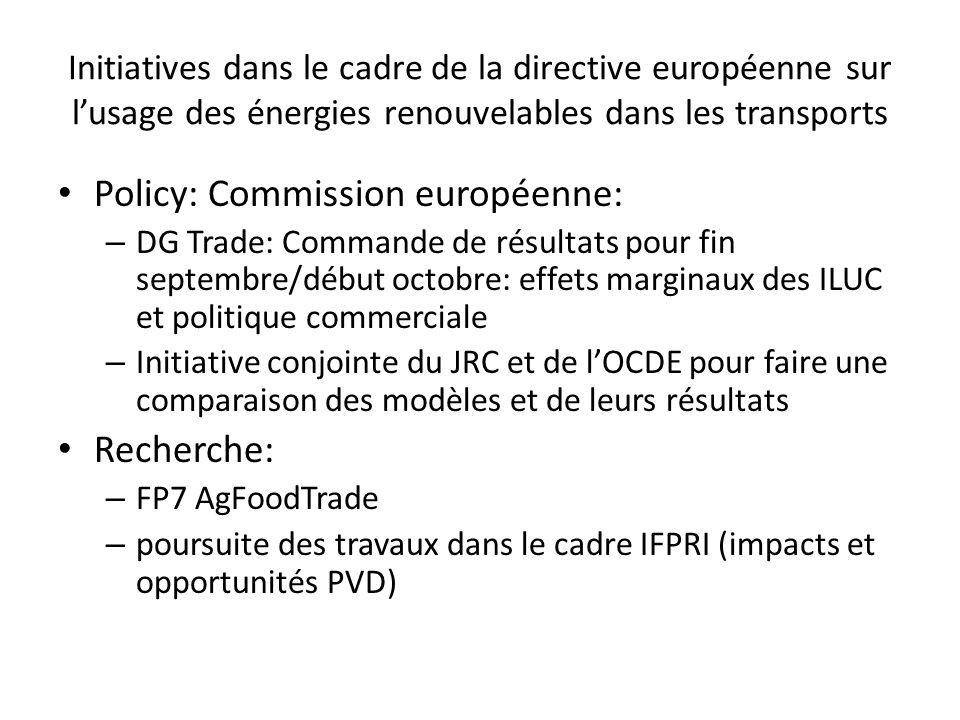 Initiatives dans le cadre de la directive européenne sur lusage des énergies renouvelables dans les transports Policy: Commission européenne: – DG Trade: Commande de résultats pour fin septembre/début octobre: effets marginaux des ILUC et politique commerciale – Initiative conjointe du JRC et de lOCDE pour faire une comparaison des modèles et de leurs résultats Recherche: – FP7 AgFoodTrade – poursuite des travaux dans le cadre IFPRI (impacts et opportunités PVD)