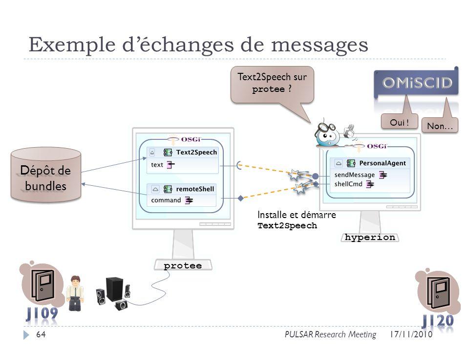 Exemple déchanges de messages 64PULSAR Research Meeting hyperion protee Text2Speech sur protee .