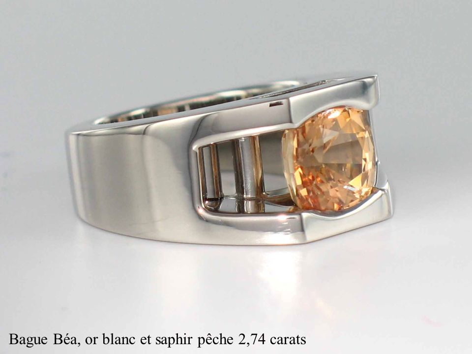 Bague Béa, or blanc et saphir pêche 2,74 carats