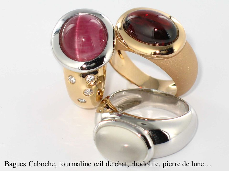 Bagues Caboche, tourmaline œil de chat, rhodolite, pierre de lune…