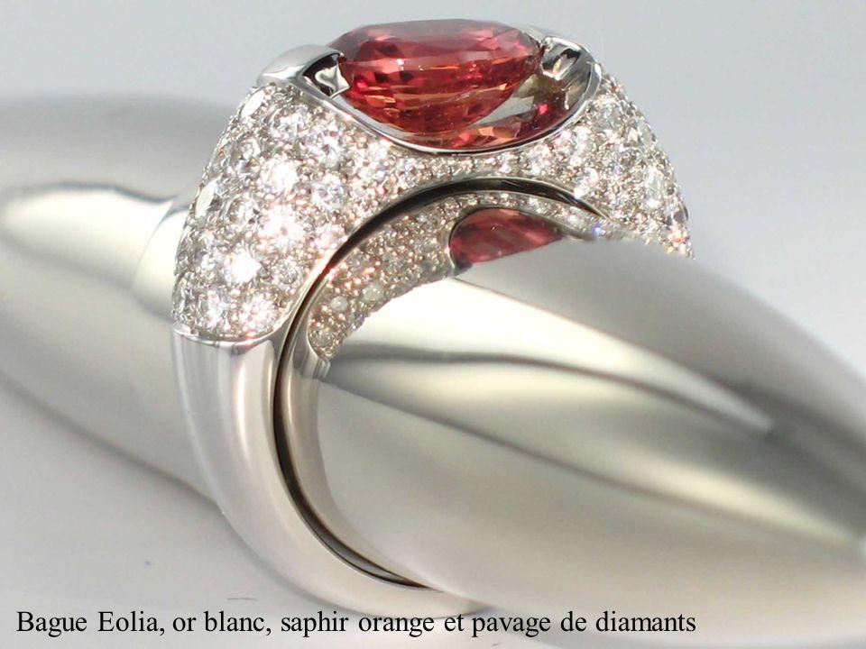 Bague Eolia, or blanc, saphir orange et pavage de diamants
