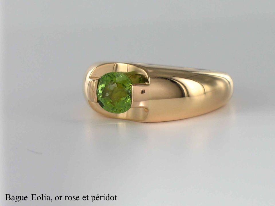 Bague Eolia, or rose et péridot