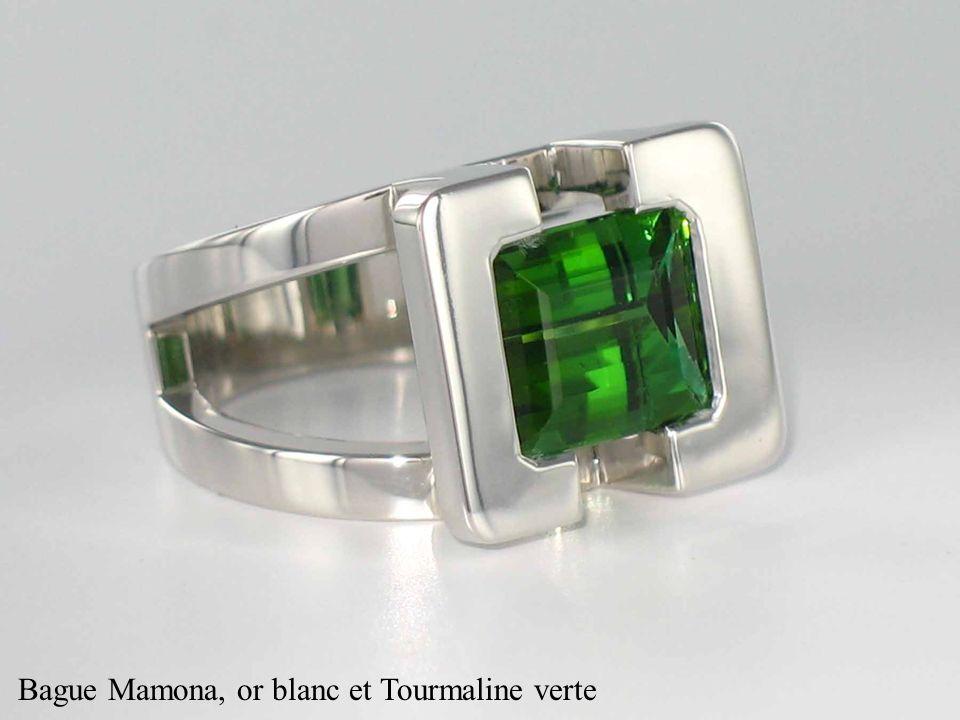 Bague Mamona, or blanc et Tourmaline verte