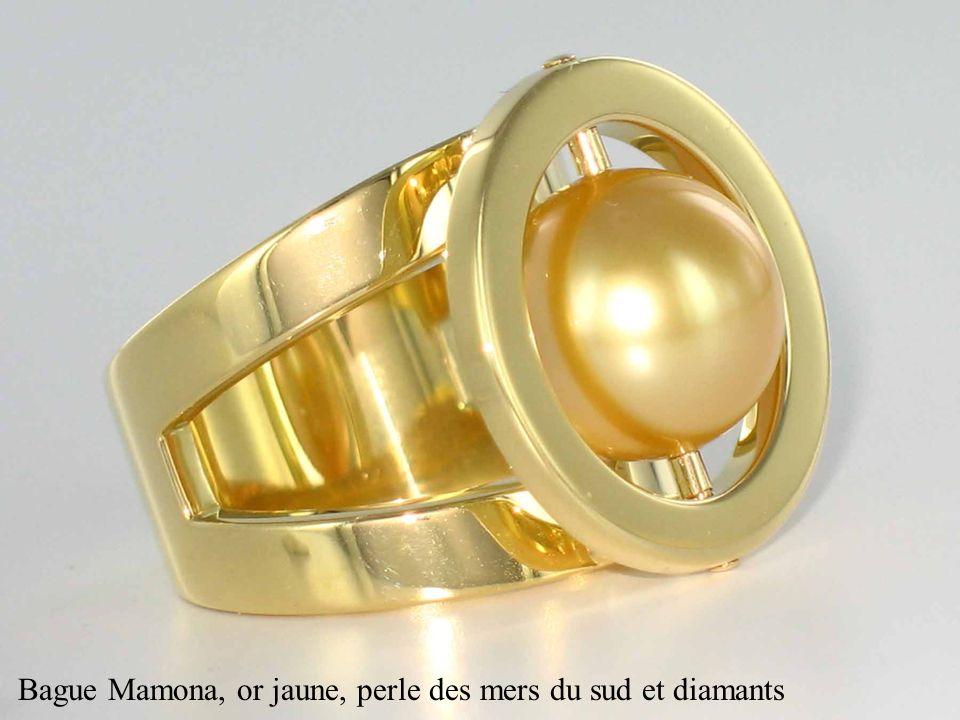 Bague Mamona, or jaune, perle des mers du sud et diamants