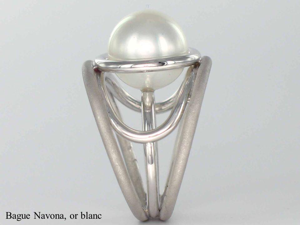 Bague Navona, or blanc