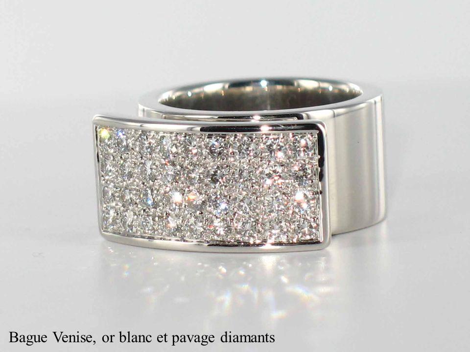 Bague Venise, or blanc et pavage diamants