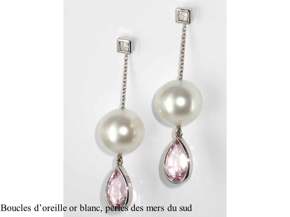 Boucles doreille or blanc, perles des mers du sud