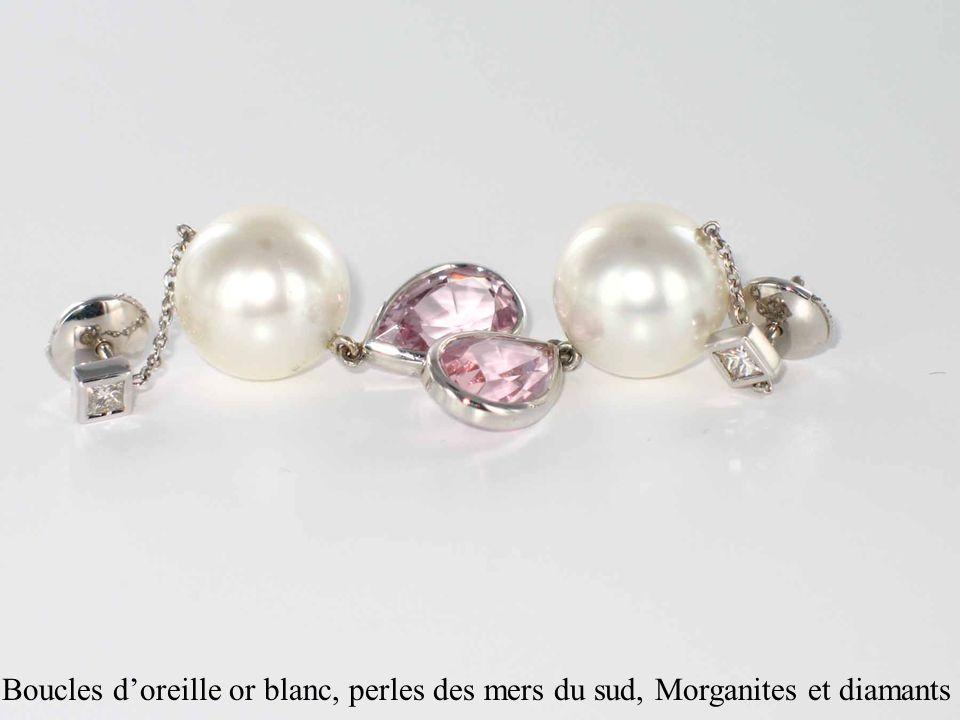 Boucles doreille or blanc, perles des mers du sud, Morganites et diamants