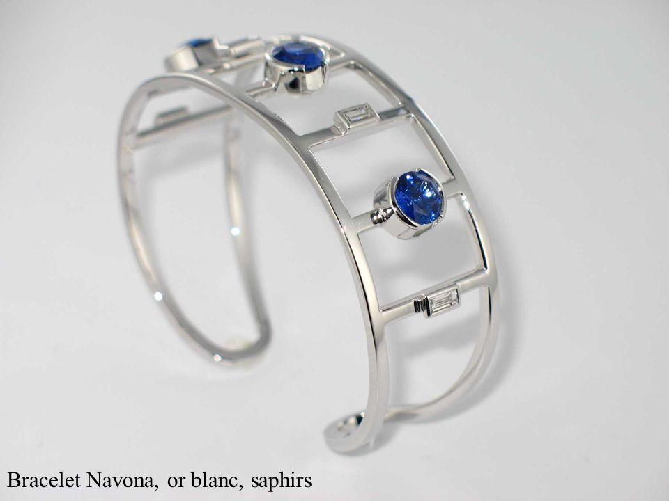 Bracelet Navona, or blanc, saphirs
