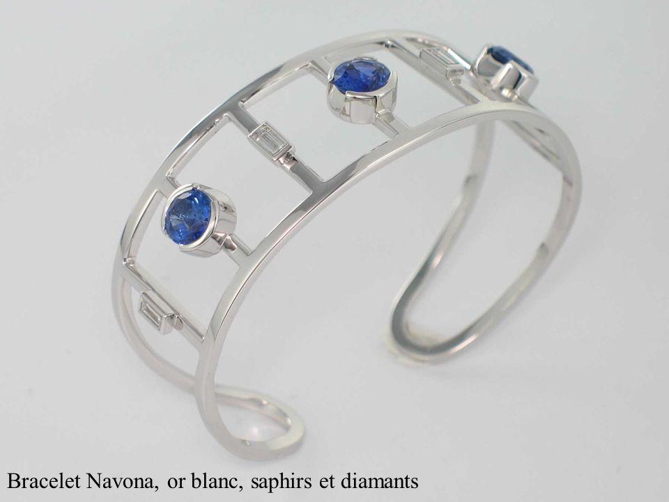 Bracelet Navona, or blanc, saphirs et diamants