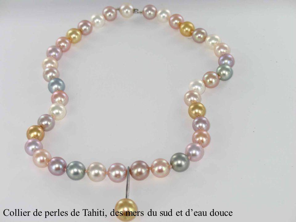 Collier de perles de Tahiti, des mers du sud et deau douce
