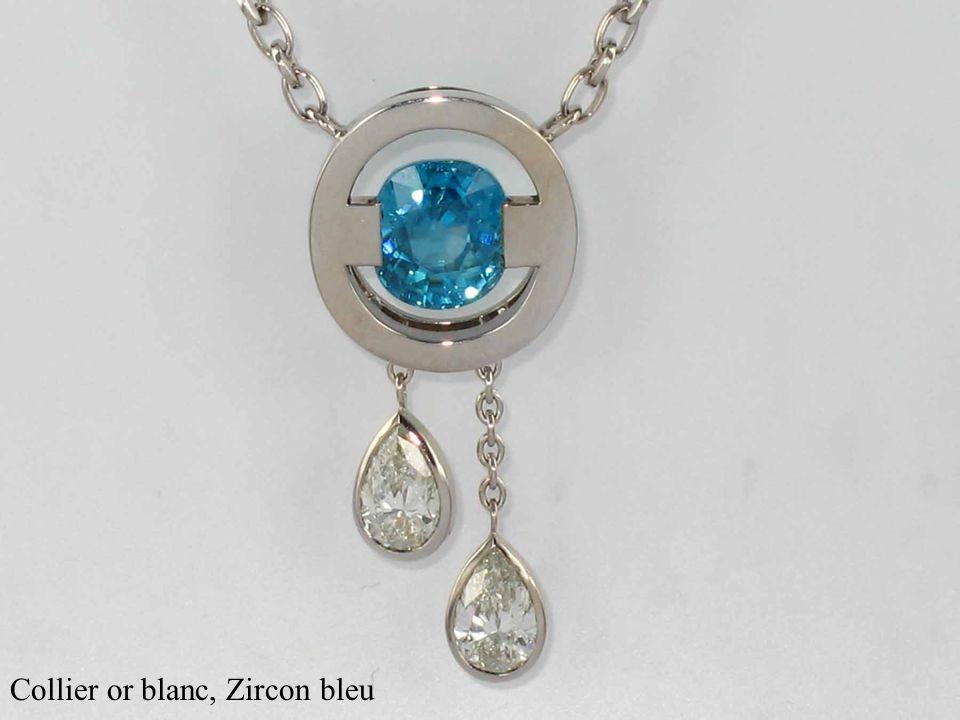 Collier or blanc, Zircon bleu