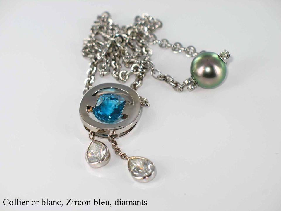 Collier or blanc, Zircon bleu, diamants