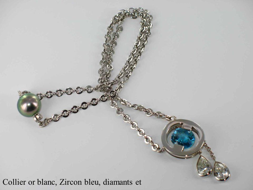 Collier or blanc, Zircon bleu, diamants et