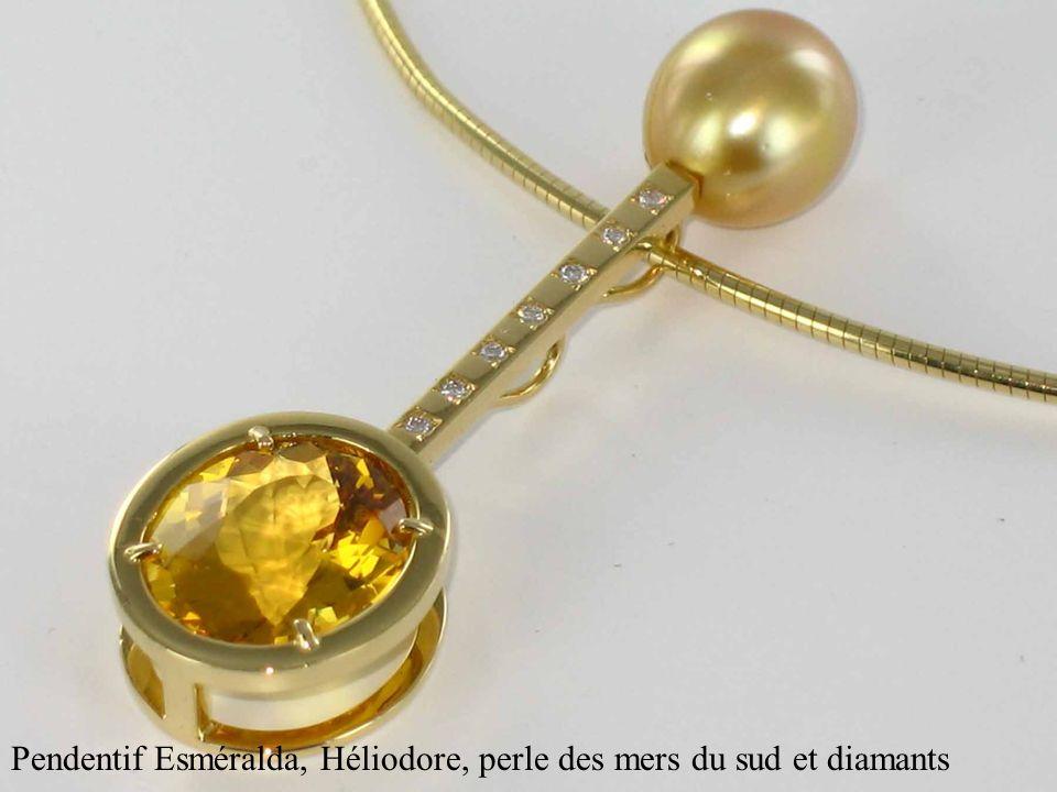 Pendentif Esméralda, Héliodore, perle des mers du sud et diamants