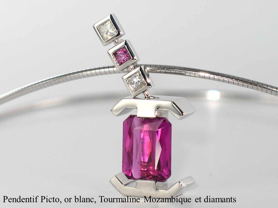 Pendentif Picto, or blanc, Tourmaline Mozambique et diamants
