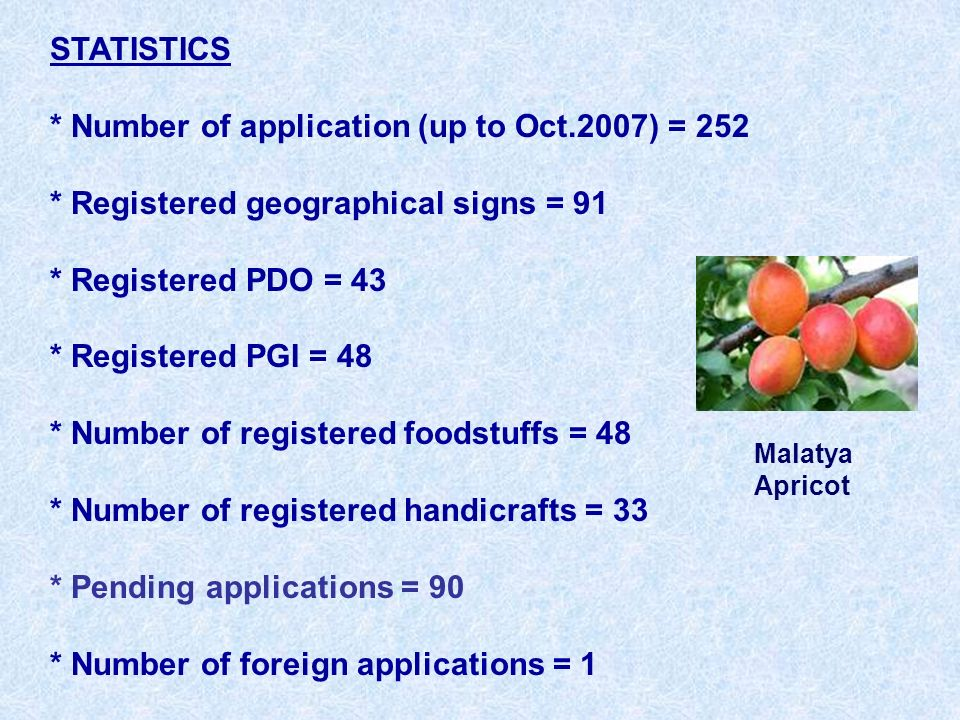 STATISTICS * Number of application (up to Oct.2007) = 252 * Registered geographical signs = 91 * Registered PDO = 43 * Registered PGI = 48 * Number of registered foodstuffs = 48 * Number of registered handicrafts = 33 * Pending applications = 90 * Number of foreign applications = 1 Malatya Apricot