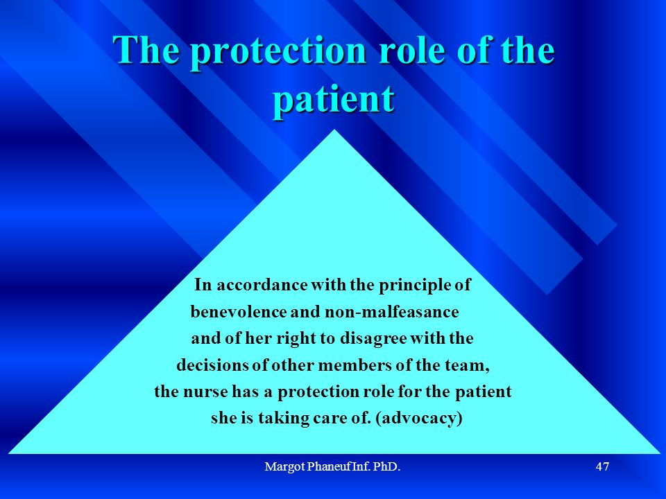 Margot Phaneuf Inf. PhD.47 The protection role of the patient In accordance with the principle of benevolence and non-malfeasance and of her right to