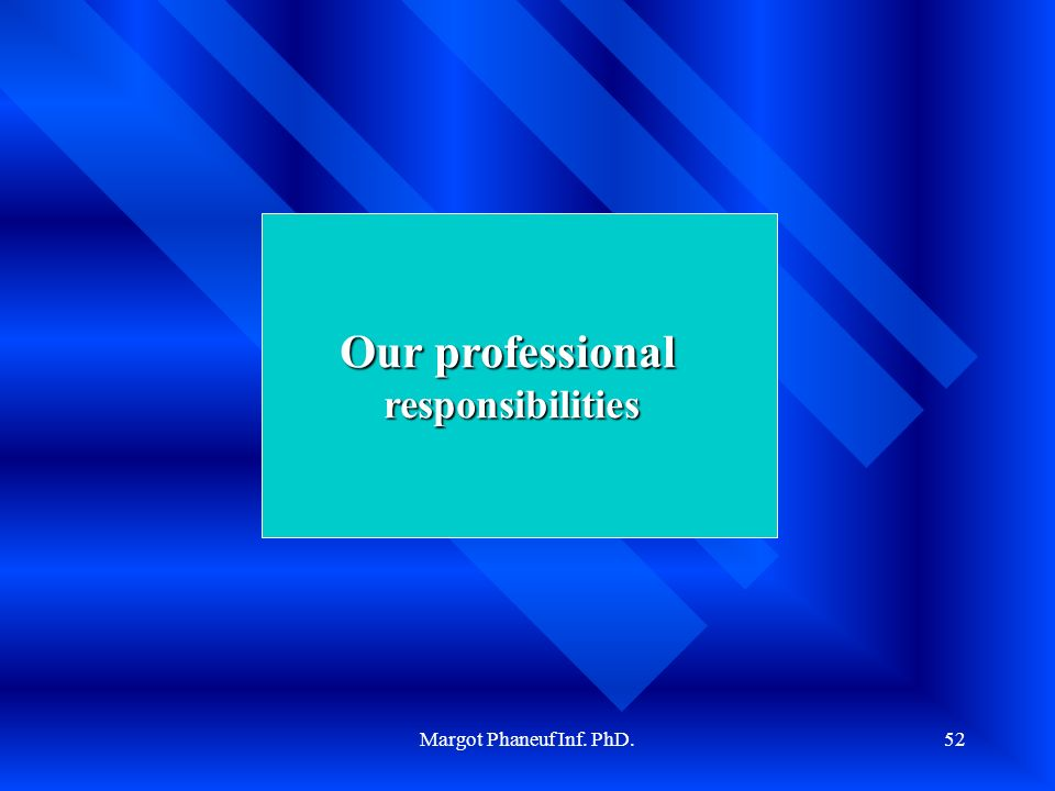 Margot Phaneuf Inf. PhD.52 Our professional responsibilities